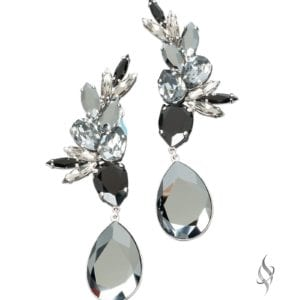 ANASTASIA-big beautiful crystal cluster drop earrings in Ink from Stefanie Somers