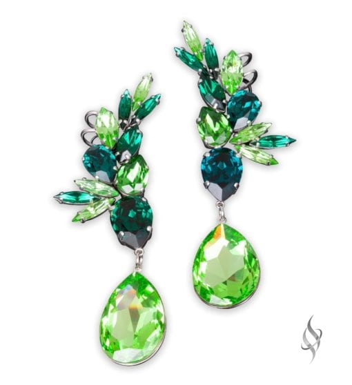 ANASTASIA-big beautiful crystal cluster drop earrings in Lush from Stefanie Somers
