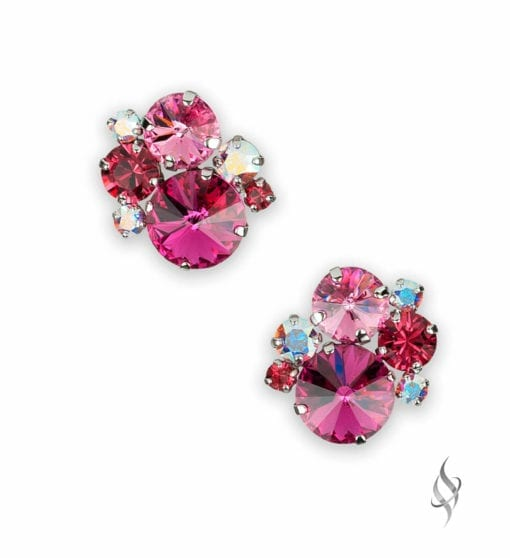 ASHLEY Round Crystal Cluster Earrings in Bloom from Stefanie Somers