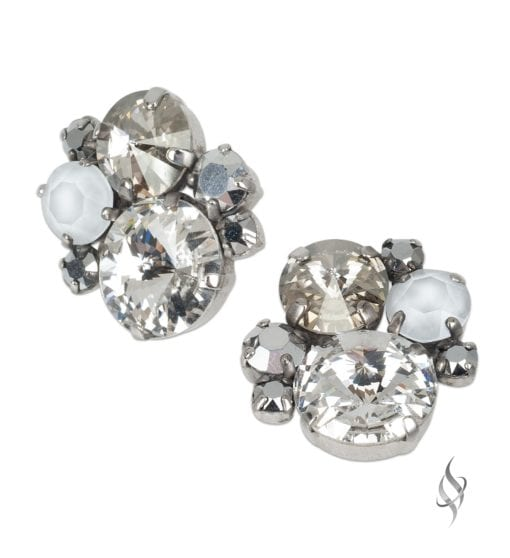 ASHLEY Round Crystal Cluster Earrings in Chardonnay from Stefanie Somers