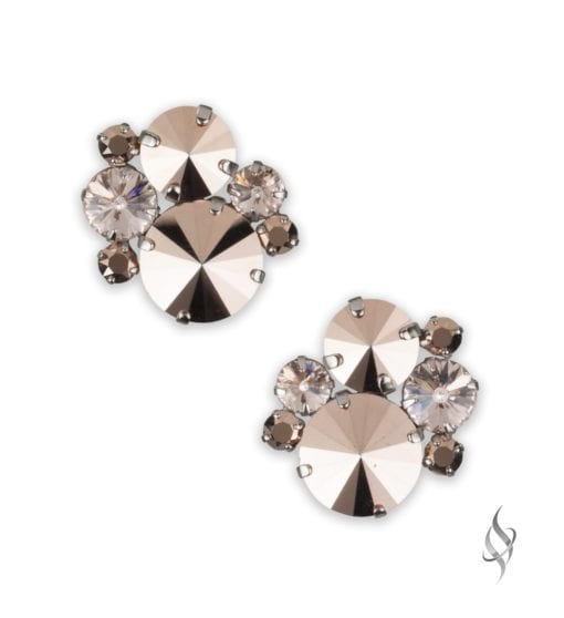 ASHLEY Round Crystal Cluster Earrings in Rose Gold from Stefanie Somers