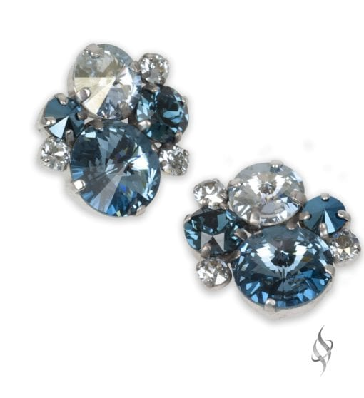 ASHLEY Round Crystal Cluster Earrings in Teal from Stefanie Somers