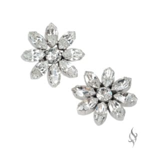 ASTER Crystal Flower Earrings in Crystal from Stefanie Somers