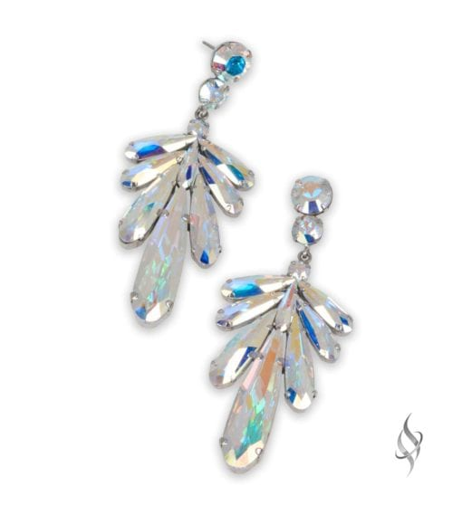 DRAGONFLY Crystal Leaf Shaped Earring in Crystal AB from Stefanie Somers