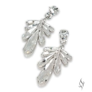 DRAGONFLY Crystal Leaf Shaped Earring in Crystal from Stefanie Somers