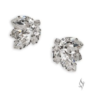 DYLAN Tailored Crystal Cluster Earrings in Crystal from Stefanie Somers