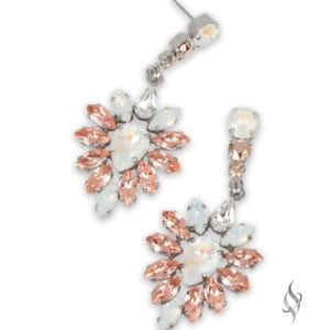 Elegant Crystal Floral Earrings in Sil Moonstone from Stefanie Somers