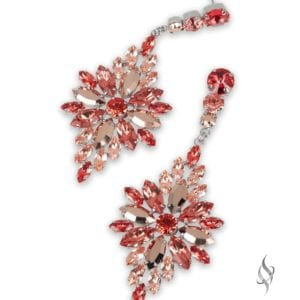 HOANG-KIM Beautiful Crystal Flower Burst Earrings in Coral Rosegold from Stefanie Somers