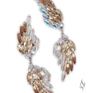 ICARUS Crystal wing earrings in Nude from Stefanie Somers