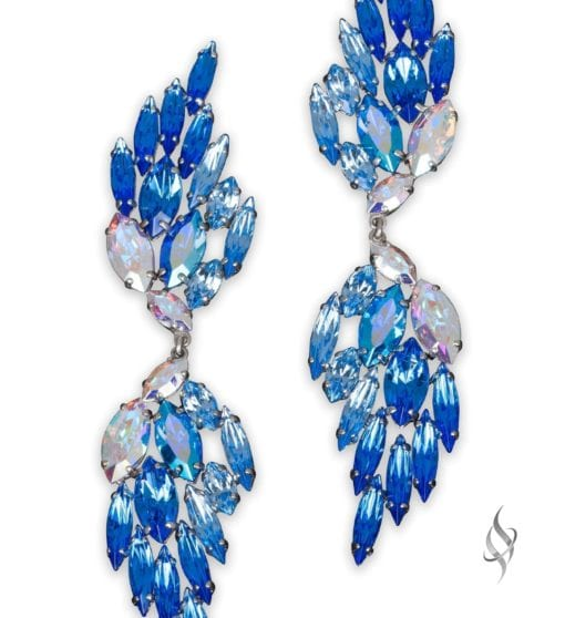 ICARUS Crystal wing earrings in Royal from Stefanie Somers