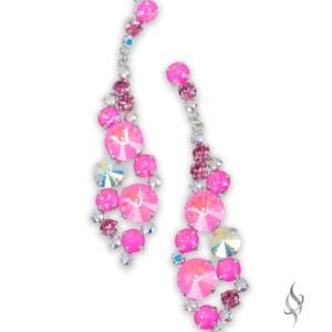 MARISA Statement Cluster Crystal Earrings in Cerise from Stefanie Somers