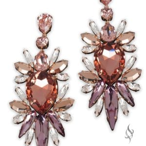 NICOLE elegant large cluster crystal earrings in Copper from Stefanie Somers