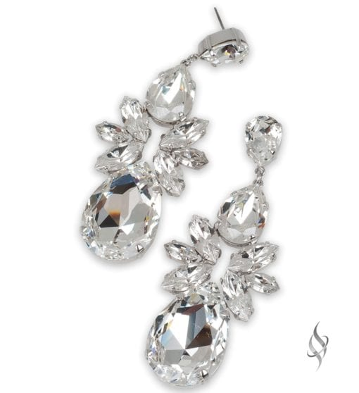 SAVANNAH Largest Crystal Burst Drop Earring in Crystal from Stefanie Somers