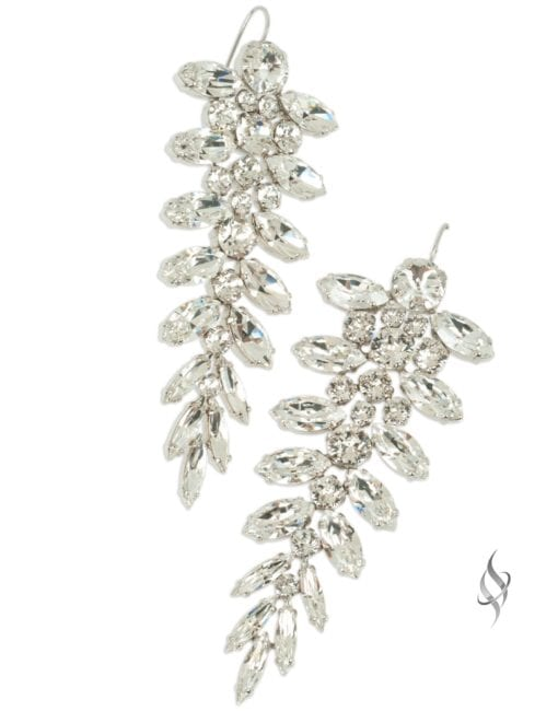GIVENS crystal large leaf earrings