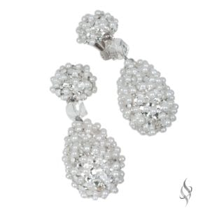 KRISTY Crystal and pearl studded bridal drop earrings from Stefanie Somers