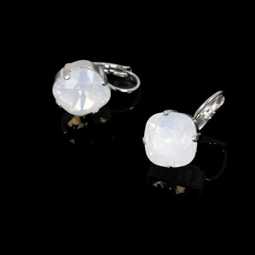 UPTOWN simple crystal square studs in Snow from Stefanie Somers